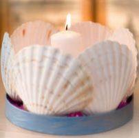centro de mesa decorado con velas