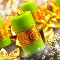 vela verde para centro de navidad