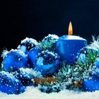 velas azules de navidad